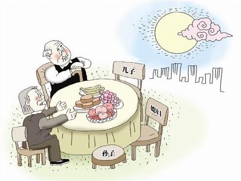 中秋节团圆吃饭简笔画